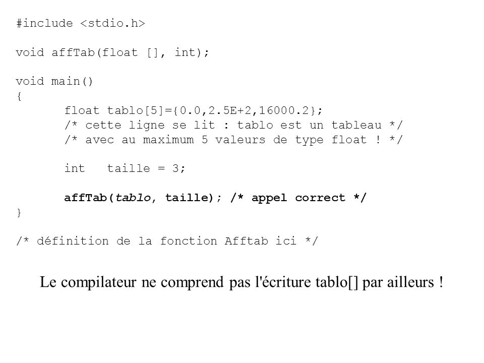 Le compilateur ne comprend pas l écriture tablo[] par ailleurs !